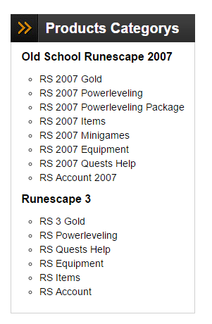 Runescape Products Categorys