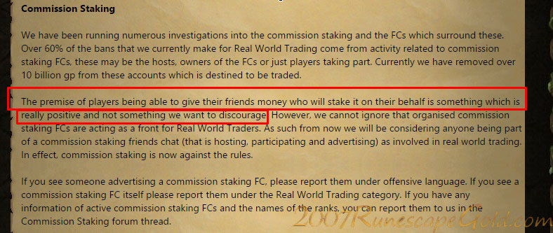 Commission Staking Is Against The Rules In Runescape