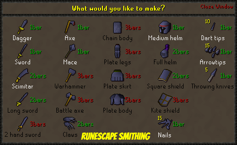 runescape Smithing