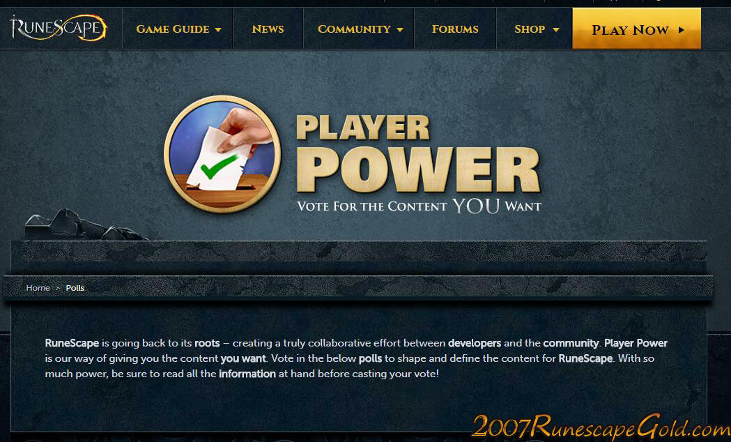 Runescape Players Can Vote For What They Want
